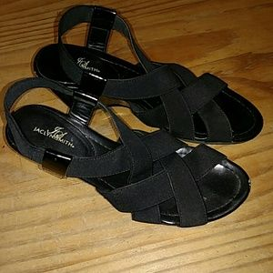 90b97230fa Black wedge sandals, size 5.5. Jaclyn Smith.